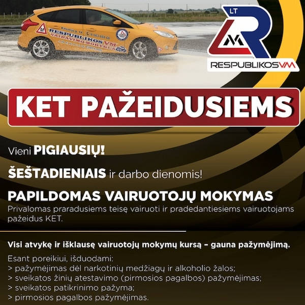 Vairavimo mokykla kategorija CE